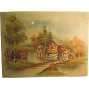 Oil On Canvas Old Mill On Water By Listed Artist Zeller