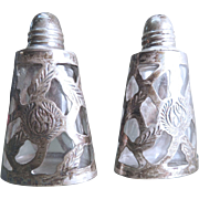 Silver Overlay Glass Salt and Pepper Shakers Mexico