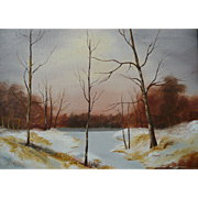 REDUCED Vintage Oil On Canvas Winter Scene Signed Smith