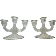 Set of Three Arm Candelabras with Etched Glass
