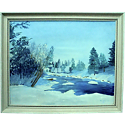 Winter Landscape Scene Oil On Board Painting Signed