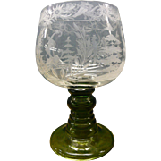 Large Bohemian Clear Glass Vase With Engravings And Green Pedestal Base
