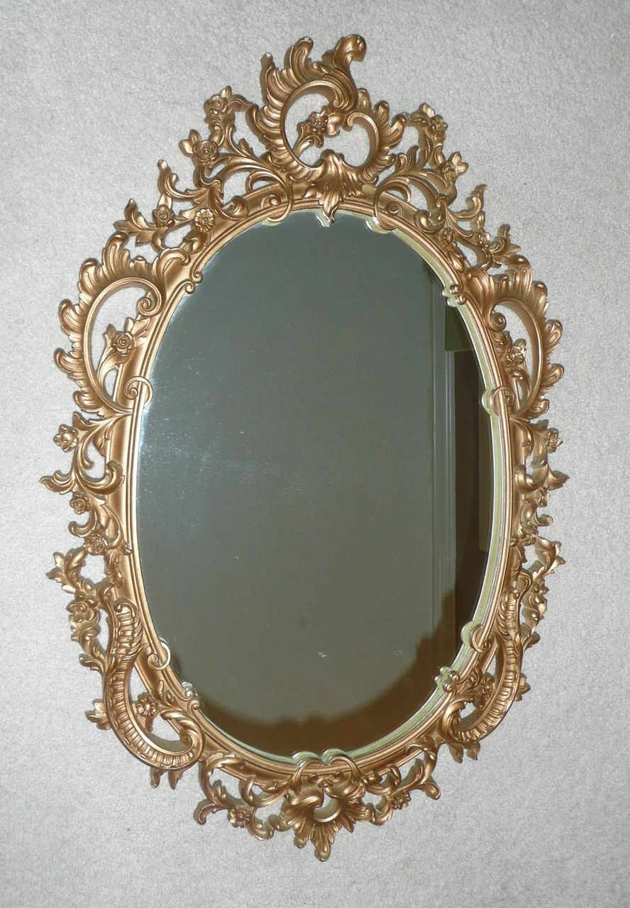 Syroco Wood Composite Mirror With Ornate Scroll Design