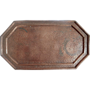 Copper Tray Hand Hammered Paisley and Floral Design