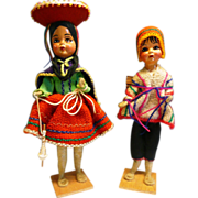 Cloth Dolls On Wood Platform Peruvian traditional