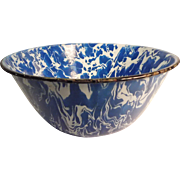 Enamelware Bowl Blue and White Swirl