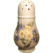 Porcelain Muffineer With Violets And Yellow Flowers Signed Burke