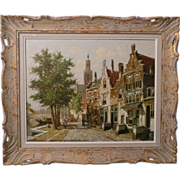SOLD Oil on Canvas City Scape, Canal Listed Artist Ten Hoven