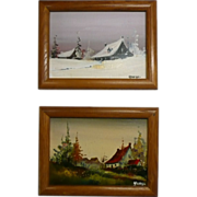 2 Miniature Art Oil Painting on Canvas Board Landscape Signed