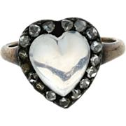 SALE Georgian 15K Yellow Gold, Sterling Silver, Moonstone & Rose Cut Diamond Heart Ring