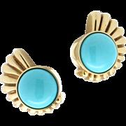 SALE Modern Estate 14K Yellow Gold Turquoise Earrings