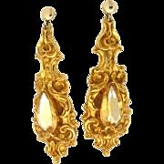 SALE Victorian 14K/18K Citrine Dangle Earrings