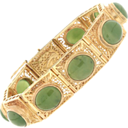 SALE Modern Estate 14K Yellow Gold & Jade Bracelet