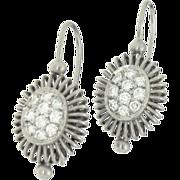 SALE Designer Signed Michael B. Platinum Diamond Ballerina Earrings