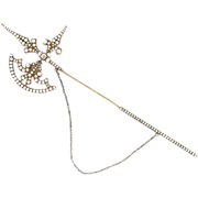 SALE Victorian 14K Yellow Gold Seed Pearl & Diamond Scottish Halberd Brooch