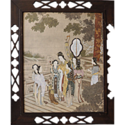 Woman with entourage antique tinted Chinese print China