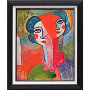 Clown woman modern cubist vintage oil painting by Gary Hansmann