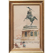 Heldenplatz in snow Vienna Archduke Charles statue antique watercolor painting by Emil Czech .
