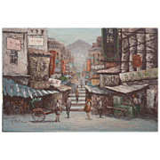 Hong Kong China morning street view signed vintage oil painting