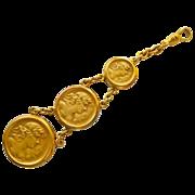 Antique Gold Filled Art Nouveau 3 Medal Watch Fob/Chain  - Circa 1900
