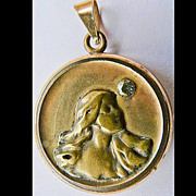 SALE Antique Art Nouveau Locket - Gold Filled and 10kt Gold - Circa 1900