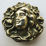 Brooch - Sterling Silver Antique Art Nouveau - Pristine - Circa 1900