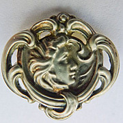 "SALE ""Sterling Top"" Brooch - Small Antique Art Nouveau  - Beautiful Circa 1900"