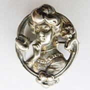 Brooch - Sterling Silver Top Antique Art Nouveau - Pristine - Circa 1900