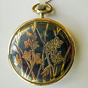 Pocket Watch French Sterling Silver Niello & 18kt Gold Antique Lohengrin Art Nouveau  - Dated