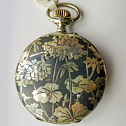 Diamond Longines Pocket Watch - Antique Sterling Silver Art Nouveau Niello Enameled - Circa 19