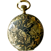 Art Nouveau Pocket Watch - Antique Sterling Silver & Gold Niello Enamel - Circa 1895