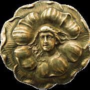 REDUCED Antique Art Nouveau Silver Top Brooch - Circa 1900