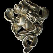 Huge Brooch Antique Sterling Silver Art Nouveau - Circa 1900 Magnificent!