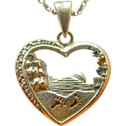 "Vintage Sterling Silver Quoted Heart Pendant Necklace with 4 Stones and 21"" long 1mm Ster"