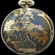 Pocket Watch - Antique Art Nouveau Niello Enamel Juvenia 18kt & Sterling Silver Pocket Watch .