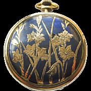 Pocket Watch - Antique Art Nouveau Niello Enamel Lohengrin 18kt & Sterling Silver Pocket Watch