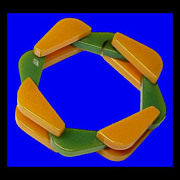 SOLD BAKELITE Rare Apricot and Candy Apple Green Tank Track Bracelet