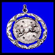 SALE BULL TAURUS TAURO Heavy Sterling Silver Vintage Medallion Charm Pendant