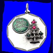 SALE CHRISTMAS TREE Gorgeous Heavy Sterling Silver Enamel Charm