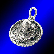 SOMBRERO Impeccably Detailed Vintage Sterling Silver 3-D Charm