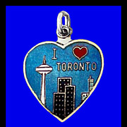SALE TORONTO Sterling Silver Charm Heart Cloisonne Basse Taille Enamel Vintage 1960s