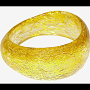 GOLD TINSEL Asymmetrical Crystal Lucite Bangle Bracelet Vintage 1960s