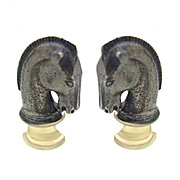 Brilliant Silvertone and Goldtone Chess Knight Cufflinks