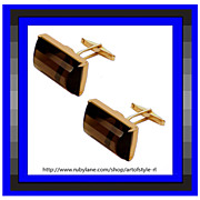Cosmopolitan Chic Emerald Cut Smoky Quartz Gold Gilt Sterling Silver Cufflinks