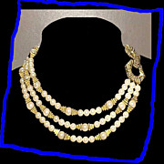 SALE MIMI DI N Rare Egyptian Style Triple Strand Faux Pearl Necklace
