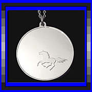 SALE BLACK BEAUTY Horse Equestrian Sterling Silver Medallion Charm or Pendant