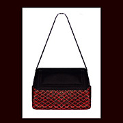 BORBONESE Stunning Italian Red Black Argyle Mesh Leather Purse