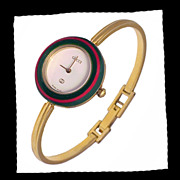 SOLD GUCCI Authentic Gold Tone Interchangeable Bezel Bangle Bracelet Running Watch with Box Vi