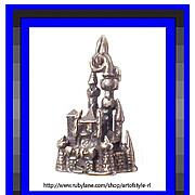 Cinderella's Castle 3D Sterling Silver Charm