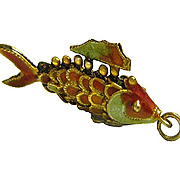 Articulated Koi Fish Good Fortune Enameled Sterling Silver 3D Charm or Pendant